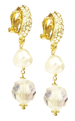 White Freshwater Cultured Pearls and Glass Bead with Rhinestone and Gold Tone Spring Clip Drop Earrings