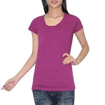 Womens Eddie Bauer Summer Crew-Neck Short Sleeve T Shirt / Blouse Top - Purple (Size: XL)