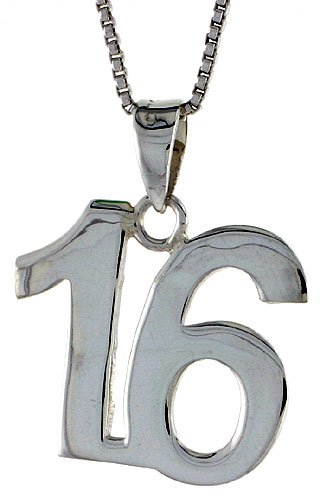 Sterling Silver Number 16 Pendant 3/4 inch