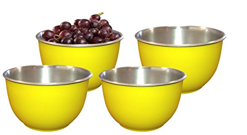 LIEFDE MICRO OVEN SAFE STAINLESS STEEL SERVING BOWLS(SET OF 4)-13 CM EACH BOWL