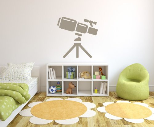 Space Telescope Planets And Space Wall Stickers Wall Art Decal 01 - Vinyl Sticker Wall Art Deco Decal - 50Cm Height,50Cm Width - Black Vinyl