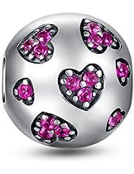 Glamulet Pink Heart Clip 925 Sterling Silver Fits Pandora Bracelet