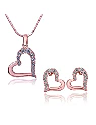 Tiara Love Heart Austrian Crystal Jewellery Set In 18K Rose Gold Plating (Hallmarked) For Girls And Women By YELLOW...