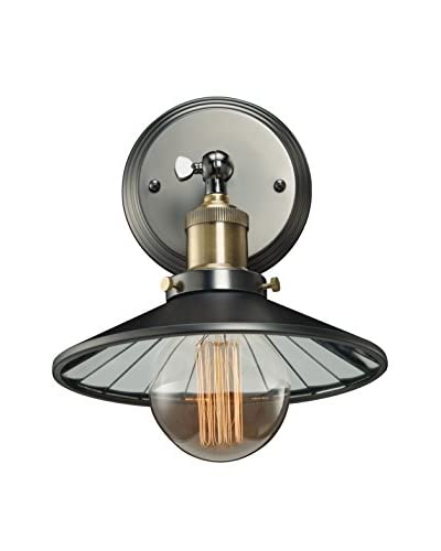 Bulbrite Vintage 1-Light Brass Shade with Mirrored Reflector Wall Sconce, Pewter Finish