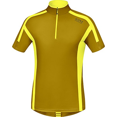 GORE RUNNING WEAR, Maglia Corsa Uomo, Maniche corte, Ultraleggera, GORE Selected Fabrics, Air Zip, Taglia L, Golden Oak/Giallo, SSZAIR201609