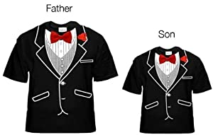 Father & Son Tuxedo T-Shirts Set (Son: X-Small (2-4 years old) & Father: Medium)