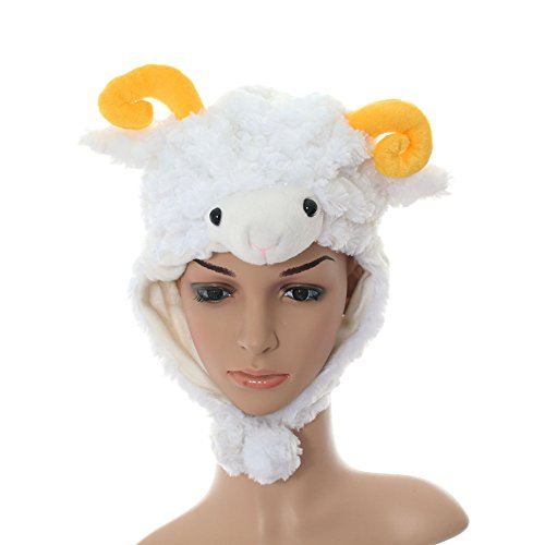 Plush Animal Sheep Hat Fluffy for Kid Size (White Sheep)