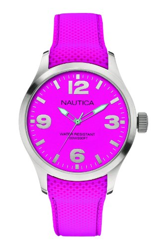Nautica  - Reloj Analógico de Cuarzo unisex, correa de Silicona color Rosa