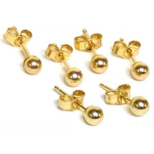 14K Gold 3mm Ball Earrings & Ear Backs 3 Pair