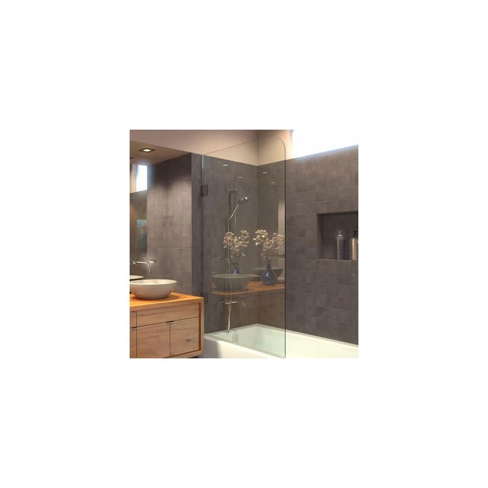 Ark Showers Frameless Bathtub Shower Screen, Pivot Door, 60 X 33.5, 5/16 (8mm) Glass, Polished Chrome Hinges. Model 6008SHR