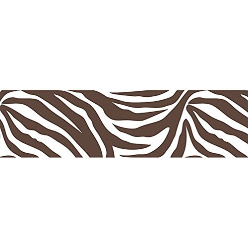 Lunarland BROWN ZEBRA PRINT 16' Wall Border Wallpops Animal Stripe Sticker Room Decor Kids (Wall Decals Brown Stripes compare prices)
