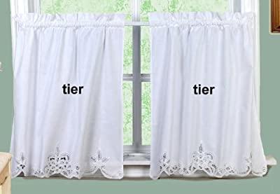 "Battenburg Lace Kitchen Curtain 24"" L Tiers WHITE"