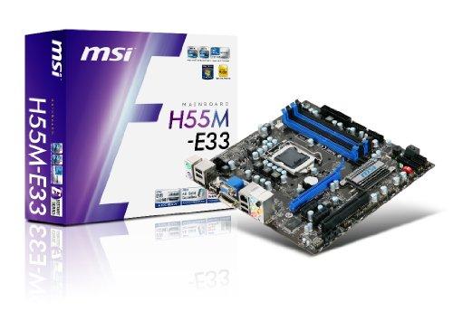MSI H55M-E33 LGA1156/ Intel Core i7/ i5/ i3/ Intel H55/ 4DDR3-2133(OC)/ GbE/ HDMI/ DVI/ VGA Micro ATX Motherboard