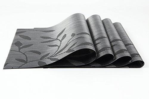 (ロータスライフ)LOTUS LIFE ランチョンマット 4枚セット 和モダン 水草模様 (ブラック×4枚)
