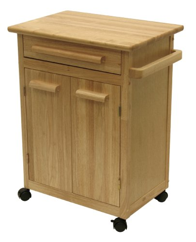 Winsome Wood Single Drawer Kitchen Cabinet Storage Cart, Natural (Kitchen Island Microwave compare prices)