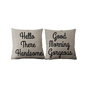 Personalized Pillow Case Hello There Handsome Good Morning Gorgeous Gift Idea set of 2