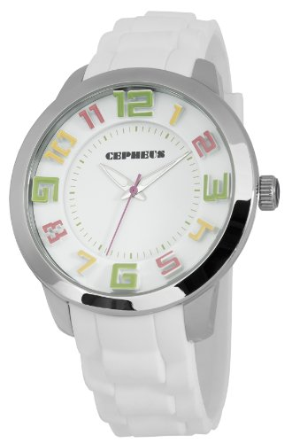 Cepheus Women's Quartz Watch with White Dial Analogue Display and White Silicone Strap CP604-186