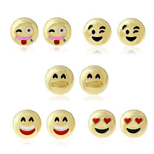 Emoji Stud Earrings - 10 Pcs In 1