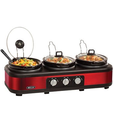 Bella Triple Slow Cooker Buffet and Serve, with lid rests, color red by Bella