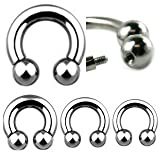 10G Externally Threaded Surgical Steel Horseshoe Ball - 3/4 - Sold as a Pair