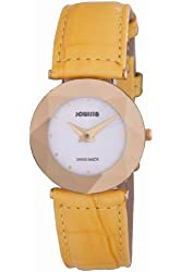 Jowissa Women's J5.266.M Facet Gold PVD Stainless Steel Yellow Genuine Leather Watch