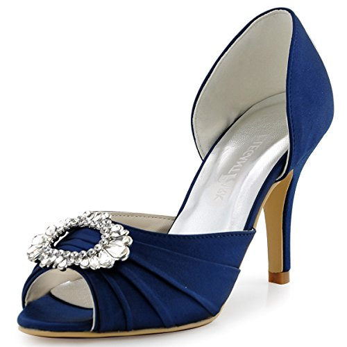 ElegantPark Women's Pumps Brooch Peep Toe High Heels Pleated Satin Wedding Party Dress Shoes Navy Blue US 7