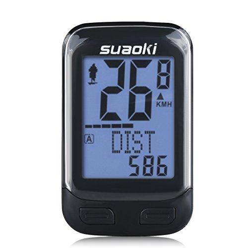 suaoki サイクルコンピューター ワイヤレスサイコン 防水 簡単取付 配線不要 バックライト スピード 気温 ケイデンス 消費カロリーなどを表示