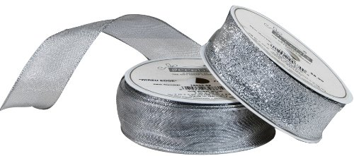 "The Gift Wrap Company Wired Edge Sheer Ribbon, 1"", Silver"