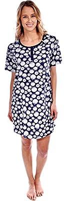 Pink Lady Women's Cotton Knit Short Sleeve Seashell Print Nightgown