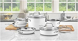 Cuisinart CSMW-10 Chef's Classic Stainless Steel 10-Piece Cookware Set, White