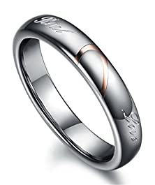 buy Mens Womens Tungsten Carbide Real Love Heart Joint Couples Wedding Engagement Promise Band Rings Width 4Mm Size 7