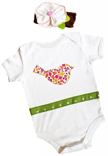Birdy Boutique Baby Girls Funky Bird Onesie Outfit and Headband Set
