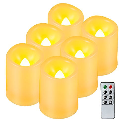 Kohree Realistic Battery-Powered Flameless Pillar Candles, Unscented Ivory Votive LED Candles with Remote Control and Timer, Batteries Included, 6 Piece (Remote Control Votive Candles compare prices)