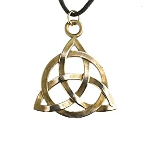 Triquetra Trinity Knot Peace Bronze Pendant Necklace on Adjustable Natural Fiber Cord