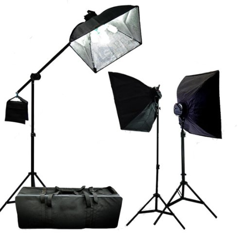 CowboyStudio 3000 Watt Digital Photography/Video Continuous Softbox Lighting Boom Set with Carrying Case - 2 Light stands, 3 Softboxes, 1 Boom Kit, 15 Photo Bulbs