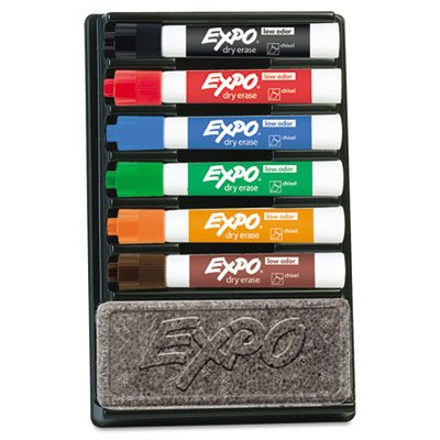 Dry Erase Marker & Organizer Kit, Chisel Tip, Assorted, 6/Set (Wet Mount Kit compare prices)