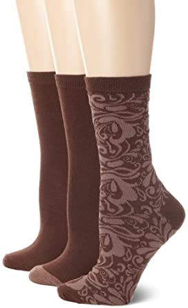 Nine West Women's Paisley Print, Solid Tipped and Solid 3 Pair Crew Pack Socks, Espresso, One Size