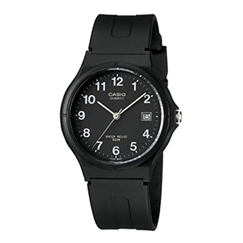 Casio Unisex MW59-1BV Black Resin Quartz Watch with Black Dial