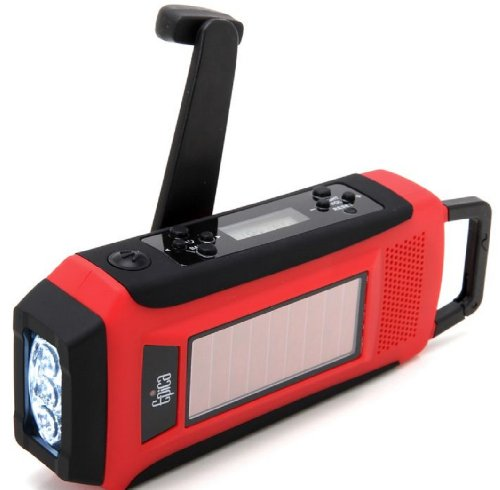 Epica Emergency Solar Hand Crank AM/FM/NOAA Digital Radio, Flashlight, Cell Phone Charger with NOAA Certified Weather Alert & Cables