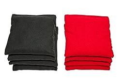 Weather Resistant Cornhole Bags (Set of 8) by SC Cornhole (Red/Black)