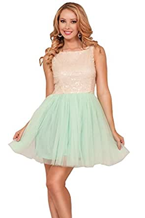 Sleeveless Scoop Neck Full Sequins Empire Princess Cut Chic Cocktail Party Dress