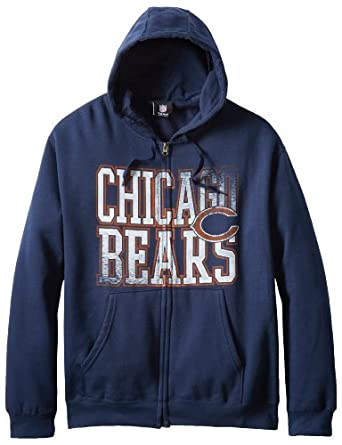 NFL Chicago Bears Touchback V Full Zip Hooded Sweatshirt, Traditional Navy, Small