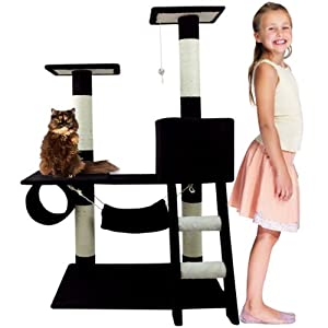 "47"" Cat Tree Furniture Post Condo House Scratcher Toy Bed Hammock 3 Tier Black"