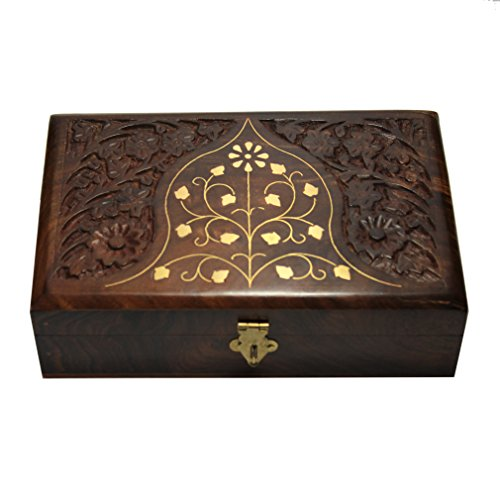 Decorative Jewelry Box With Lock Wooden Storage Keepsake Watch Box Floral Brass Inlay With Red Velvet Base & Roof 8 * 5 Inches Unique Birthday Gift Ideas For Women Girlfriend