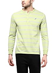 American Crew Men's Striped Henley Full Sleeves T-Shirt (Light Green & Light Grey)