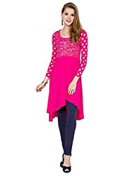 Folklore Women's Asymmetrical Hemline Kurta (FOKU001575_Pink_X-Large)