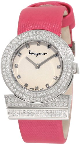 Ferragamo Women's F56SBQ9101i S703 Gancino Fuchsia Satin Band Diamonds Watch