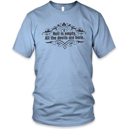 Hell is Empty (Black) Fine Jersey T-Shirt, Baby Blue, M