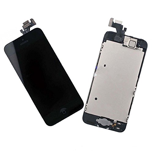 LLLccorp OEM for iPhone 5 5G LCD Replacement Complete Front Housing LCD Display Touch Screen Digitizer Assembly + Front Camera + Earpiece Speaker + Mid Board+ Home Button Small Parts (Black) (Full Black Iphone 5s Housing compare prices)