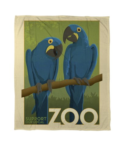 Thumbprintz Coral Fleece Throw, 50 By 60-Inch, Zoo Parrots front-474775